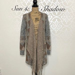 SUN & SHADOW OPEN FRONT CARDIGAN WITH FRINGE
